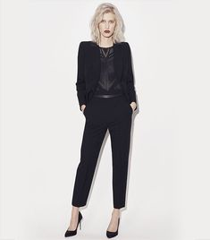 Black tailored jacket, tailored trousers, cut out body suit and black satin courts | AW17 | Karen Millen
