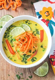 Vegan Coconut Curry Soup with Sweet Potato Noodles // Sweet potatoes are substituted for noodles in this dish for the ultimate clean eating hack. It's a healthy comfort food. The best combination. | The Green Loot #vegan #cleaneating #weightloss