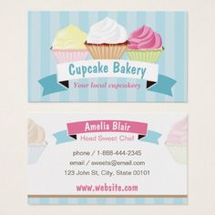 Cupcake Bakery Business Card - pink gifts style ideas cyo unique