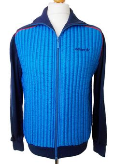 """Vintage 1980s Adidas Track Top Blue Ribbed Foam Front and Back Red Piping Made in West Germany Rare Size 6FT 1"""" UK Medium Excellent by BlackcatsvintageUK on Etsy"""
