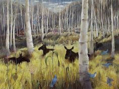 """Moose with Birds and Cars, by Nancy Glover 