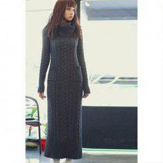 $21.33 Graceful Turtle Neck Twist Shape Slimming Pocket Design Long Sleeve Solid Color Knit Dress For Women