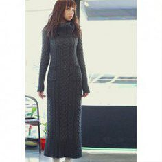 $21.33 Graceful Turtle Neck Twist Shape Slimming Pocket Design Long Sleeve Solid Color Knit Dress For Women