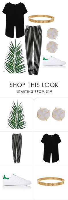"""""""stripped pants"""" by harthkai on Polyvore featuring Nika, Melissa Joy Manning, Glamorous, adidas and Cartier"""