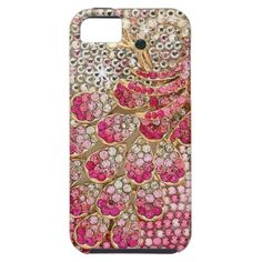 Girly Pink Diamond Peacock iPhone 5 Covers