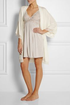 Eberjey | Golden Girl metallic lace-trimmed jersey robe | NET-A-PORTER.COM