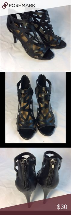 Fergalicious Heels EUC Lasor cut. Back zipper. Man made materials. On signs of wear are on heel tips as shown in photos. They look brand new. Offers welcomed. Fergalicious Shoes Heels