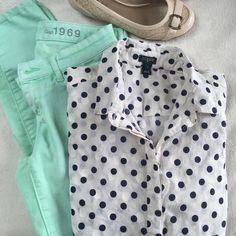 J. Crew polka dot top Staple half button down from J. Crew. 100% cotton. J. Crew Tops Button Down Shirts