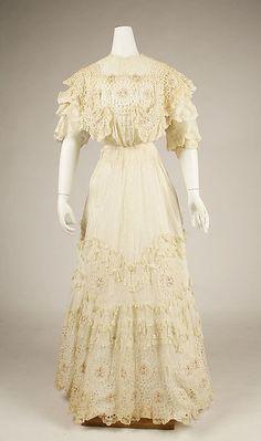 Dress, cotton, American or European 1906–10