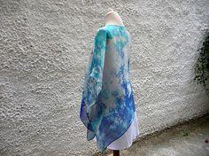 Kimono Jacket Boho Style Silk Jacket Turquoise Blue Short