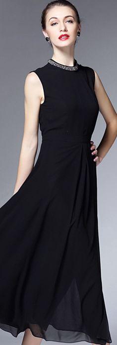Black Round Neck Rhinestone Long Dress