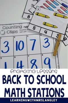 These back to school math centers for kindergarten have easy set up and will last you all month long. Easy organization will work with a rotation chart, math tubs, centers, or just as small group activities. These are easy to use and focus on beginning kindergarten math skills. Beginning Of Kindergarten, Kindergarten Math, Small Group Activities, Hands On Activities, First Grade Classroom, Primary Classroom, Math Stations, Math Centers, School Projects