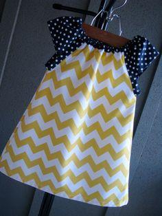 Dress chevron yellow Easter zigzag navy blue polka by redpajamas
