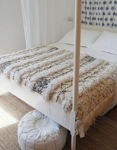 I came across the vintage Moroccan wedding blanket at Table Tonic - what a fabulous idea! Moroccan wedding blankets are sourced high in t. Dream Bedroom, Home Bedroom, Bedroom Decor, Bedroom Modern, Bedrooms, Moroccan Design, Moroccan Decor, Moroccan Bedroom, Moroccan Pouf
