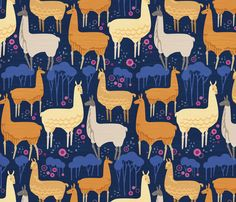 Llamas Evening Stroll_12inchRpt fabric by robinpickens on Spoonflower - in case anyone was wondering, I need this in my life.