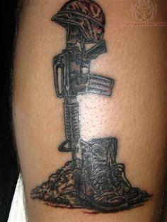 Military Memorial Boots Rifle Helmet Tattoo Pin military army tattoos ...