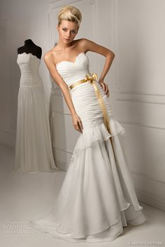 Capelli Couture 2013 Bridal Collection - Russia - Leticia Strapless Fit-Flare Pleated Wedding Dress with Ruffle Skirt