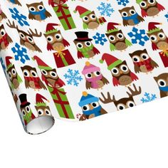 Christmas Owls Wrapping Paper - sept  28