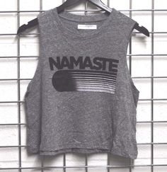 NEW Spiritual Gangster HAMASTE Gray Cropped Muscle TEE Small #SpiritualGangster #GraphicTee