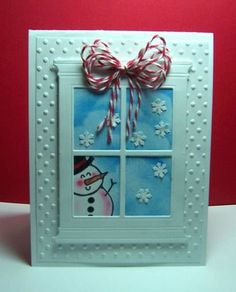 Snowman In Window by jandjccc - Cards and Paper Crafts at Splitcoaststampers Making Greeting Cards, Greeting Cards Handmade, Snowman Cards, Window Cards, Christmas Greeting Cards, Copics, Paper Cards, Cool Cards, Creative Cards