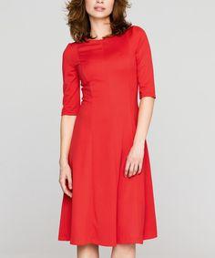 Another great find on #zulily! Peperuna Red Three-Quarter Sleeve Dress by Peperuna #zulilyfinds