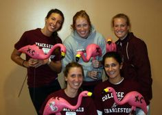 College of Charleston's cross country and track & field teams flocked three lawns on Sunday evening to kick off their pink flamingo fundraiser. Track Team, College Of Charleston, Lawns, Fundraisers, Track And Field, Cross Country, Girl Scouts, Utensils, Kicks