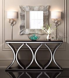 Beautiful modern console table design with contemporary shapes in black and white Sofa Table Design, Sofa Table Decor, Accent Table Decor, Sofa Tables, Accent Tables, Dining Room Console, Modern Console Tables, Entryway Console, Silver Console Table