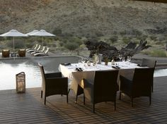 Your dinner or lunch could be served here Outdoor Furniture Sets, Outdoor Decor, Oasis, Safari, Wildlife, Environment, Lunch, Table Decorations, Dinner