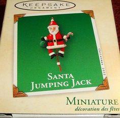"2002 HALLMARK Miniature "" SANTA JUMPING JACK "" ORNAMENT - NIB"
