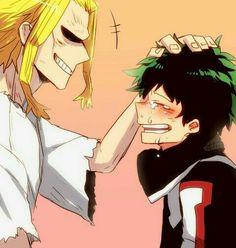 All Might, Izuku, crying, smiling, happy, patting, head; My Hero Academia