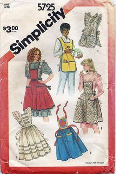 Vintage Apron Patterns | 80s Apron Pattern Vintage Simplicity 5725 Sewing Pattern Original Not ...