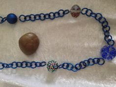 Dark Blue Bead and Chain Necklace by RandomJewelry on Etsy, $25.00