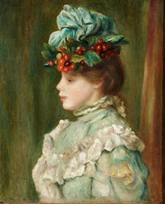Pierre Auguste Renoir (French, - Girl with Hat with Cherries, 1880 - Oil on canvas Pierre Auguste Renoir, Impressionist Artists, Impressionism Art, Paintings Famous, Famous Artists, August Renoir, Renoir Paintings, Portraits, Alba