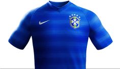 The Brazil 2014 Away Shirt is blue and has a blue v-collar. The new Brazil Away Kit features gradient hoops in a lighter blue tone inspired by the energy and movement of Brazil people, as well as ocean and Brazil's surf culture. Soccer Gear, Soccer Kits, Nike Soccer, Football Kits, Soccer Jerseys, World Cup Shirts, Brazil People, Brazil World Cup, Team Uniforms