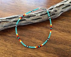 Southwestern seed bead anklet - Tiny glass seed beads - Silver tiger tail metal string - Nickel free clasps - Crafted in California - Ships everywhere - Combined shipping included Comes gift wrapped in box Beaded Chocker, Beaded Anklets, Beaded Choker Necklace, Seed Bead Necklace, Diy Necklace, Beaded Bracelets, Seed Beads, Embroidery Bracelets, Diy Accessories
