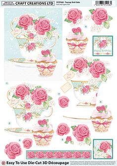 Craft Creations die cut decoupage - Teacup and Cake Papel Vintage, Decoupage Vintage, Decoupage Paper, Paper Craft Supplies, Paper Crafts, Christmas Sheets, Decoupage Printables, Wire Jewelry Designs, Cardmaking And Papercraft