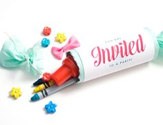 Confetti Popper Kids Party Invitations by Confetti Sunshine