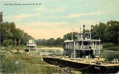 North Dakota Red River Steamboats Near Grand Forks PM 1911 Postcard   eBay