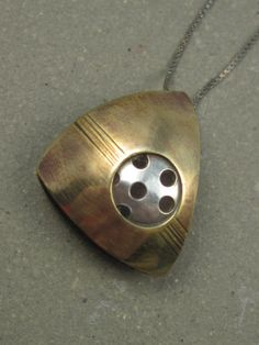 Mixed Metal Brass Hollow Form Pendant, Metalwork, Artisan Handmade, Everyday, Simple, Small Pendant, Brass Version, Gift