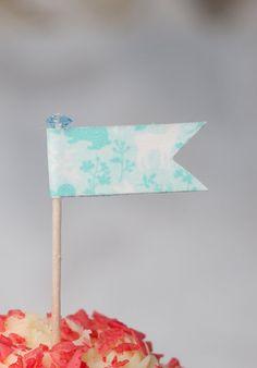 Baby Blue Woodland Washi Tape Cupcake Flag with Blue set of 12  $8.49