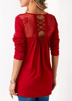 Mesh Panel Long Sleeve Red Blouse | liligal.com - USD $31.58
