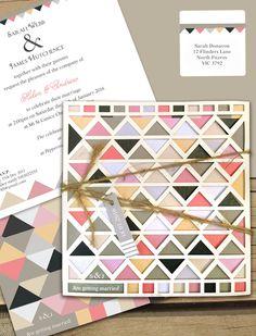 New lilykiss  geometric tribal laser cut wedding invitation now up online! Seen here in earthen palette for the on trend bride.