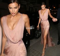 Sexy Irina Shayk Celebrity Dresses V Neck Side Split Beaded Applique Sheath Rose Pink Chiffon 2016 Cheap Evening Party Dress Long Prom Gowns