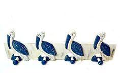 Hand Carved Pelican Towels Hooks Beach Hanger Holder Surfboard Nautical Wooden Wall Hanging Art Sign Tiki Bar