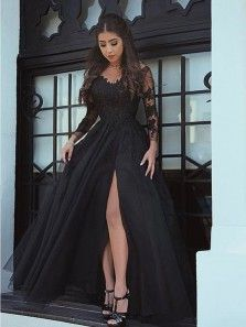 ec6db176 Charming A-Line V Neck Long Sleeve Open Back Black Tulle Long Prom Dresses  with Appliques,Evening Party Dresses. High Low ...