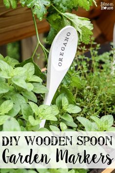 DIY Wooden Spoon Garden Markers | blesserhouse.com - A simple tutorial for how to craft your own vintage-inspired garden markers made from wooden spoons, plus a resource for a beautiful stacked herb garden. #herbgarden #garden