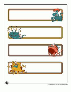 printable name plates monsters 231x300 Printable Name Cards and Bulletin Board Decorations