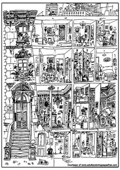 living in building adults architectures coloring pages