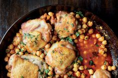 Pan-Roasted Chicken with Harissa Chickpeas - one pot meal
