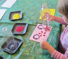 Pop Bottle Painting!  Some of these prints wind up looking like flowers!